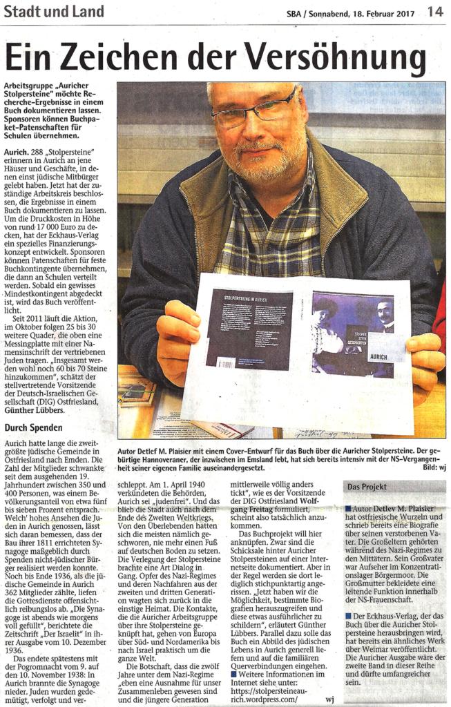 Bericht vom Sonntagsblatt über Stolperstein Geschichten Aurich