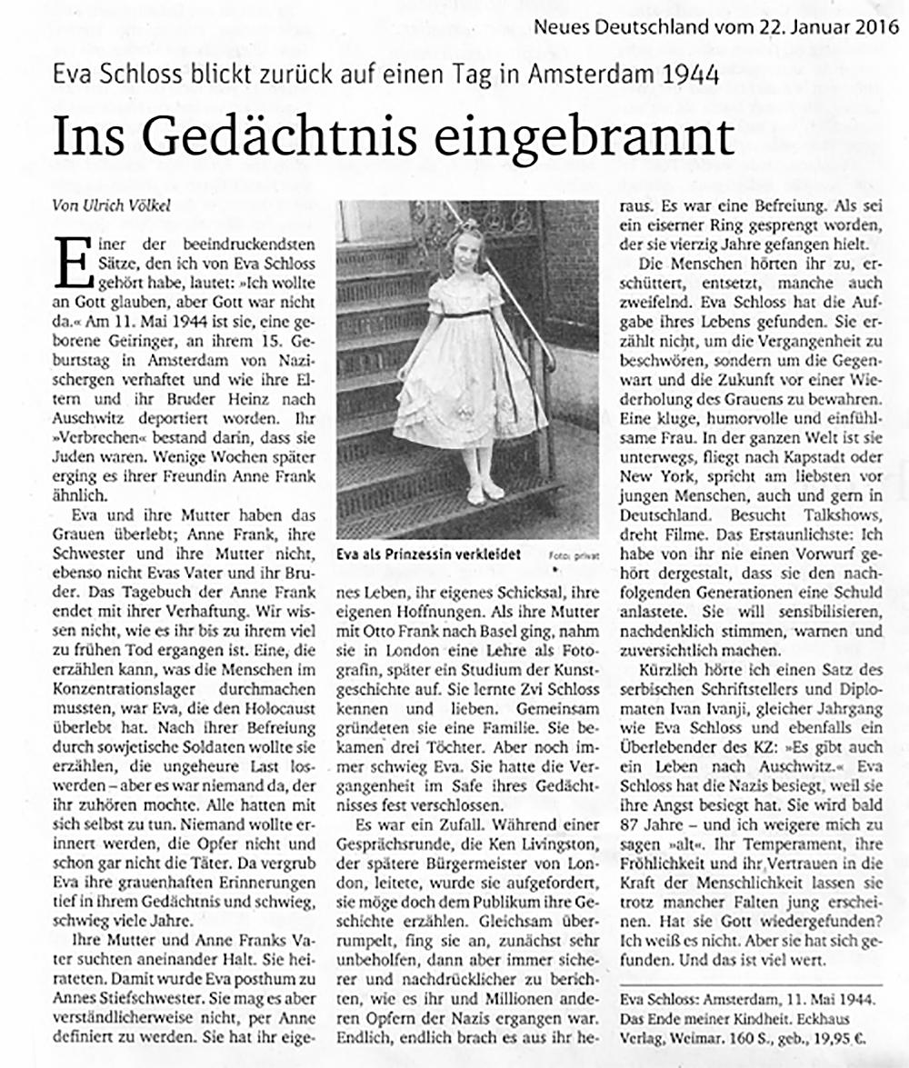 Zeitungsartikel Neues Deutschland