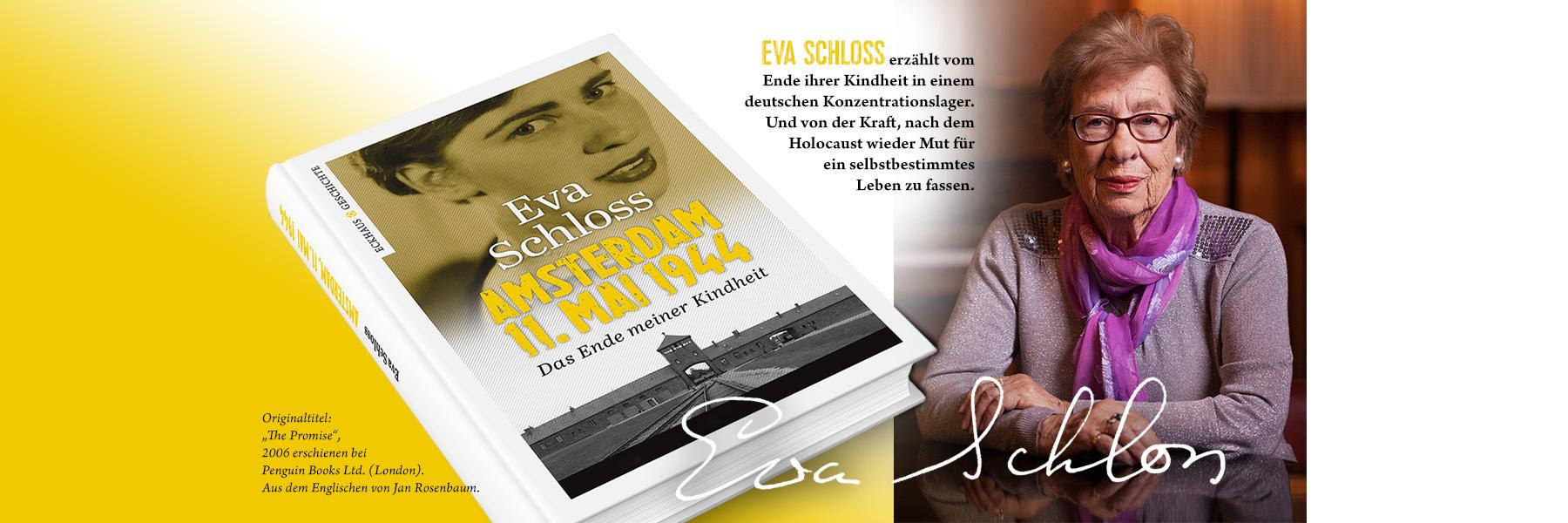 Buchcover Amsterdam, 11. Mai 1944 und Bild von Eva Schloss