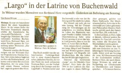 Zeitungsartikel über Memoiren von Bertrand Herz