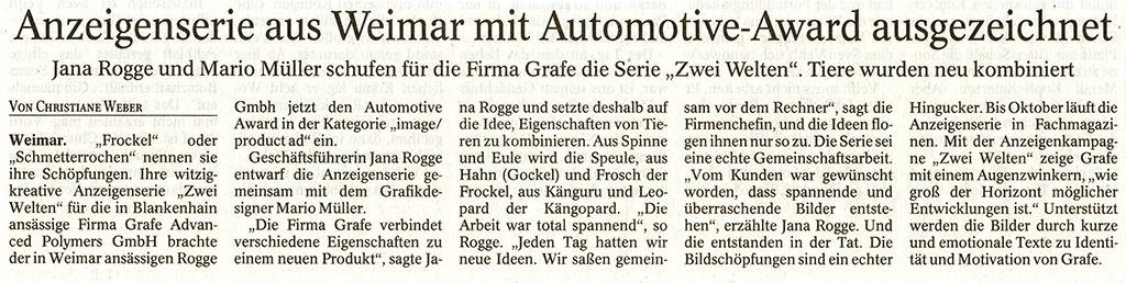 Zeitungsartikel über Jana Rogge und Mario Müller