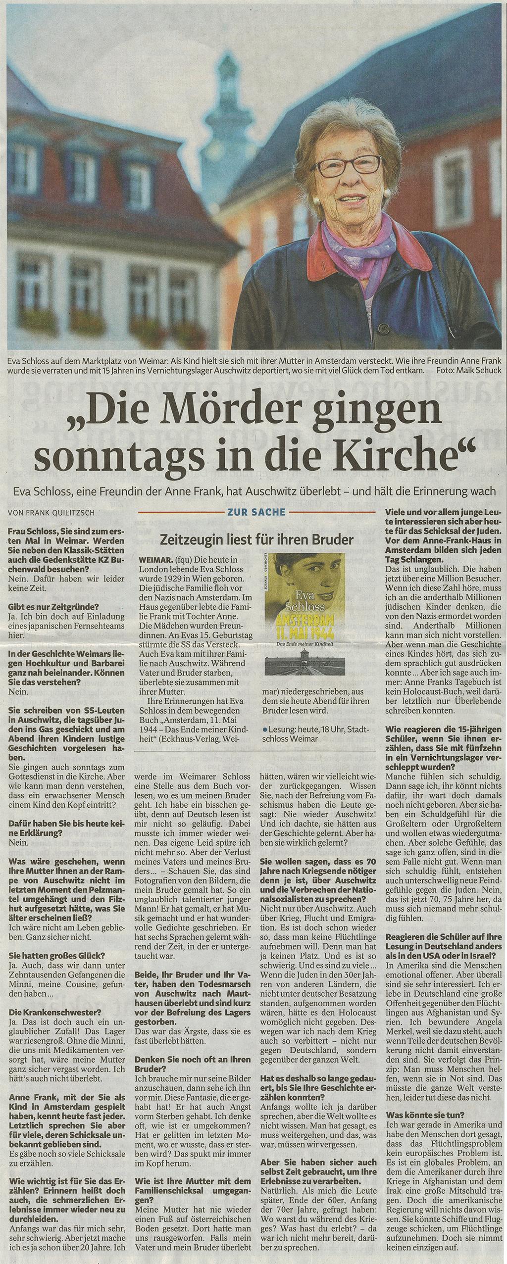 Zeitungsartikel Eva Schloss