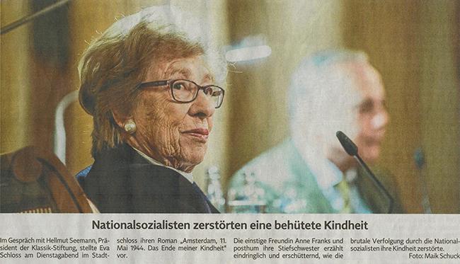 Zeitungsartikel über Eva Schloss