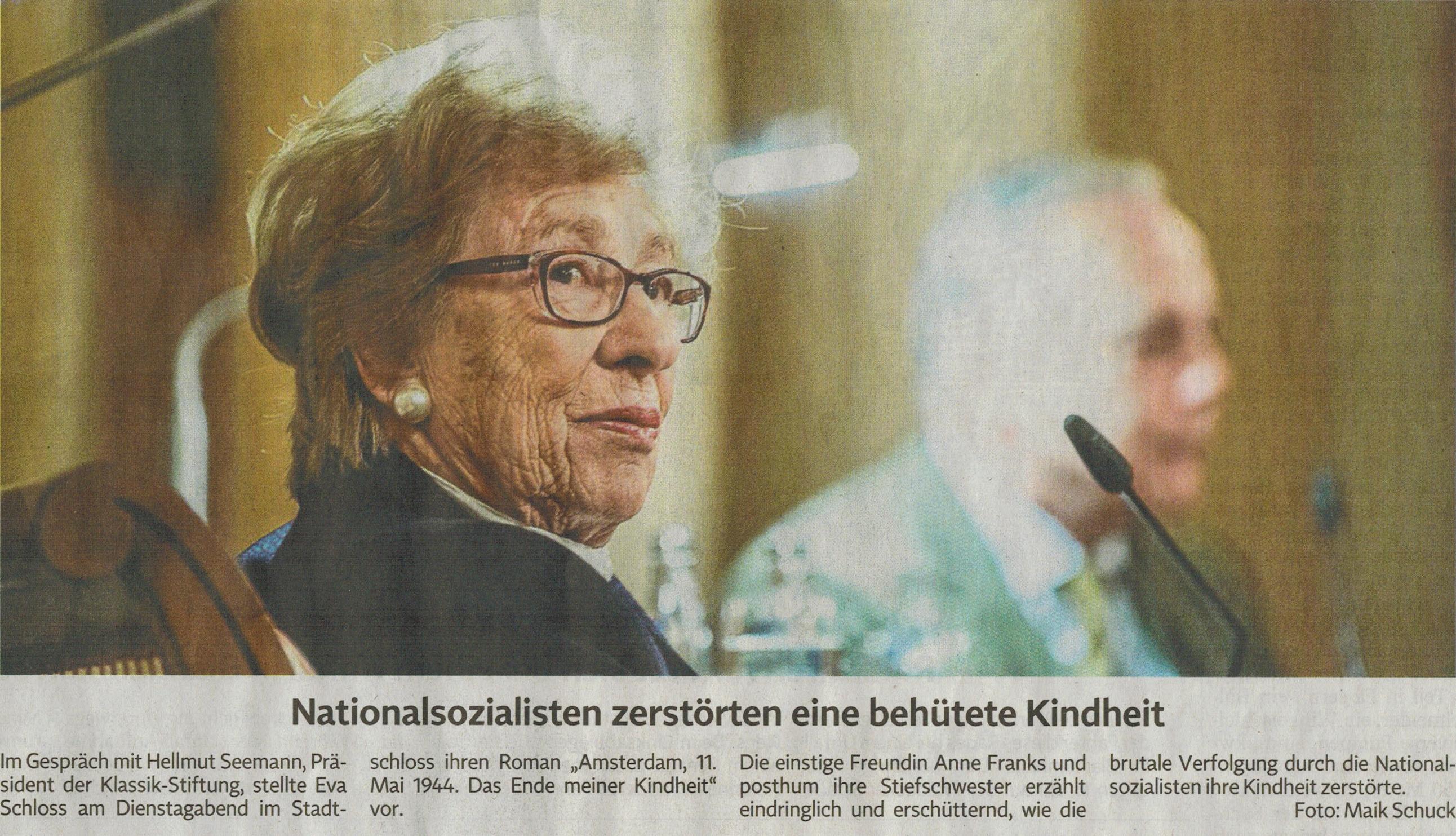 Zeitungsausschnitt Eva Schloss bei der Klassik-Stiftung