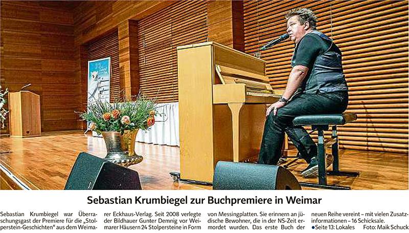 Zeitungsgsartikel über Sebastian Krumbiegel zur Buchpremiere von Stolperstein-Geschichten