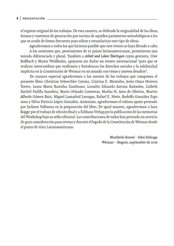 Tagungsband La Constitución de Weimar en los desafíos del siglo XXI