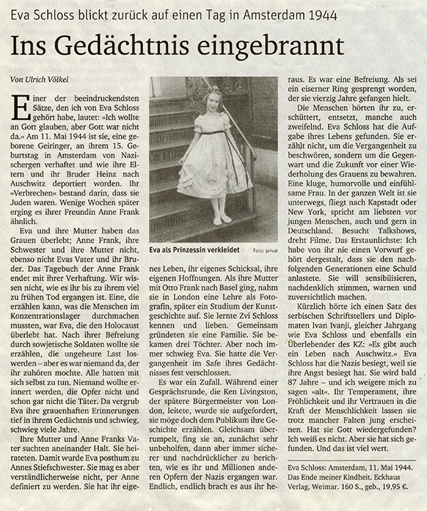 Zeitungsartikel über Eva Schloss und dem Buch 11. Mai 1944