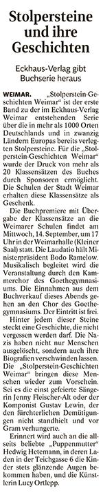 Zeitungsartikel Stolpersteine und ihre Geschichte