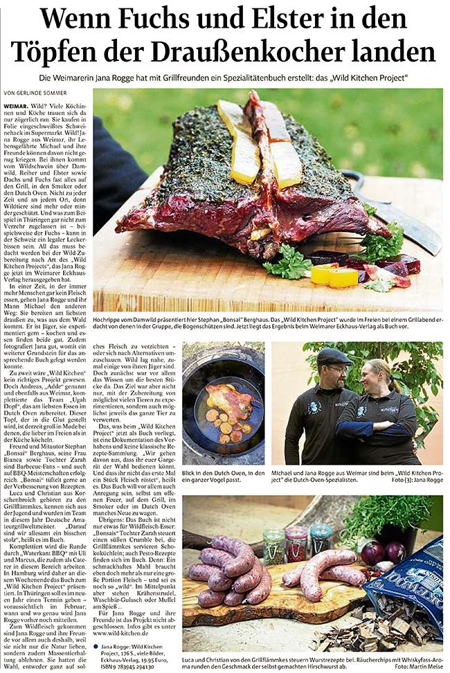 Zeitungsartikel über das Buch Wild Kitchen Project